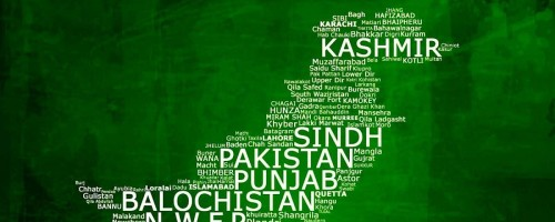 Map of Pakistan Designed with City Names